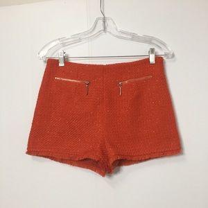 Orange Sparkle Tweed Shorts